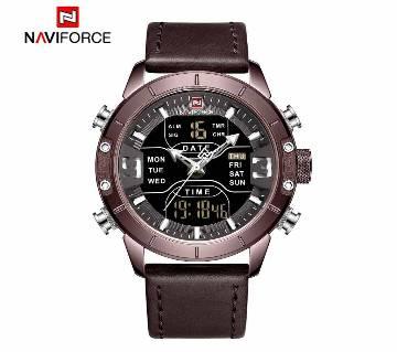 NAVIFORCE ANALOG QUARTZ + LCD DIGITAL NF9153S Dual Display Men Wristwatch Quartz Watch Men Black Sport Clock Alarm 12/24 Hour Display Leather Relogio