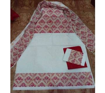 Boishakhi Unstitched Block Printed Cotton Three piece
