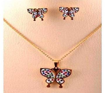 Butterfly Shaped Crystal Drop Pendant Set