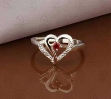 Heart Shaped Red Stone Setting Finger Ring