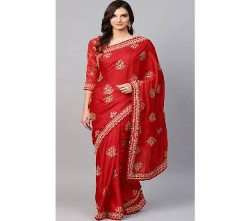 Red Embellished Indian Silk Saree