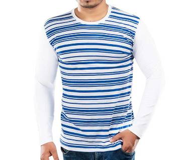 Mens Full Sleeve T-Shirt 37869 - WHITE/BLUE