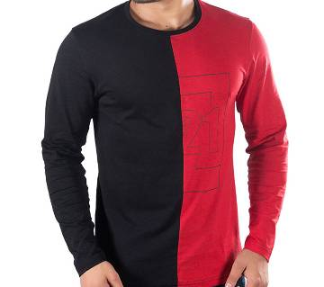 Mens Full Sleeve T-Shirt 43665 - BLACK/RED