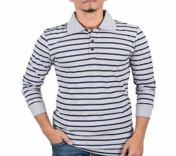 মেনজ ফুল-স্লীভ পোলো শার্ট 37917 - Grey Stripe