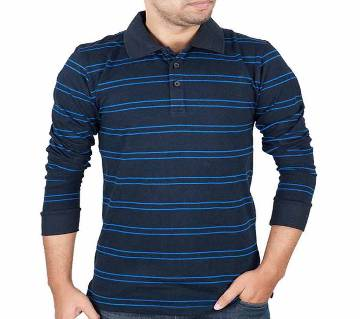 Mens Full-Sleeve Polo Shirt 37917 - Navy Stripe