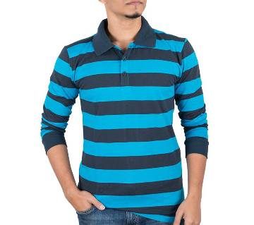 Mens Full-Sleeve Polo Shirt 37917 - Turquoise Stripe