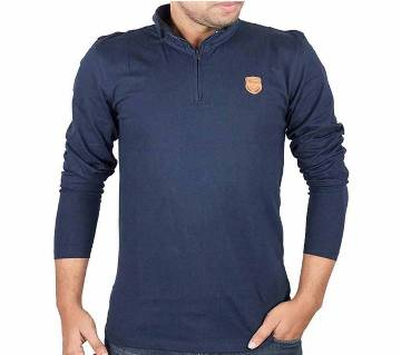 Mens Full-Sleeve Zip-Polo Shirt 37889 - NAVY