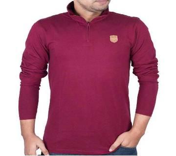 Mens Full-Sleeve Zip-Polo Shirt 37889 - MAROON