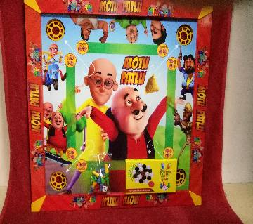 Wooden Motu Patlu Kids Carrom 3 in 1 Game Board - Multicolor
