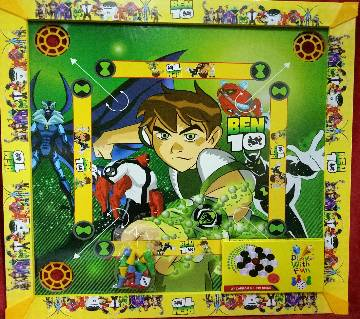 Wooden Ben 10 Kids Carrom 3 in 1 Game Board - Multicolor