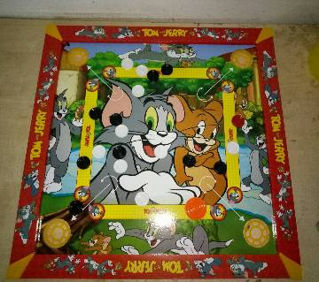 Wooden Tom and Jerry Kids Carrom 3 in 1 Game Board - Multicolor