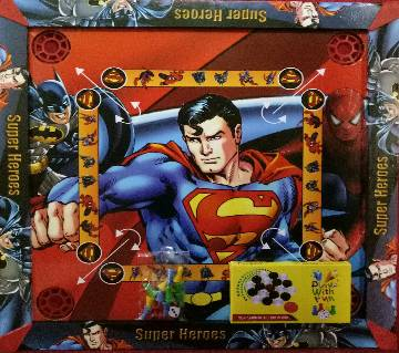 Wooden Super Heroes Kids Carrom 3 in 1 Game Board - Multicolor