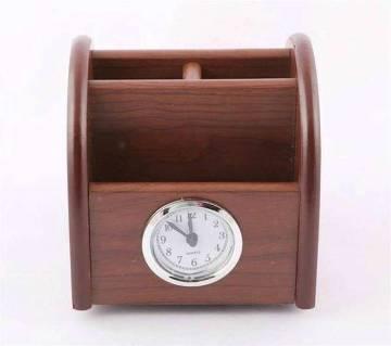 Moving Wooden Desktop Pen Holder Clock