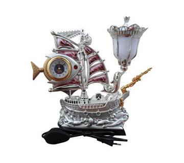 Table Clock in a Plastic Fish Ship with Lamp