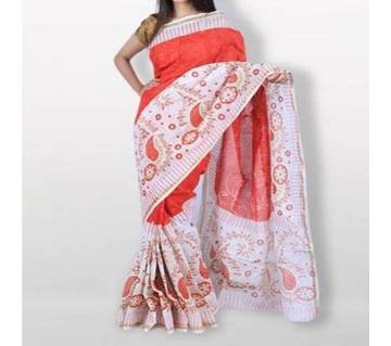 Red And White কটন শাড়ি