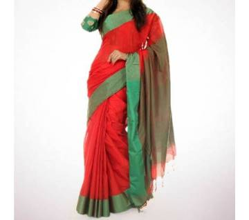 Red and Green কটন শাড়ি