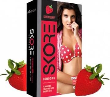 Skore Strawberry Flavor Condom-Pack Of 10Pcs