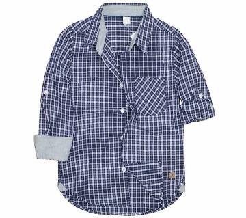 Black Check Cotton Long Sleeve boys Shirt