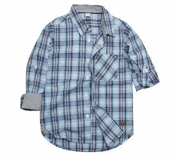 Green color check cotton long sleeve boys shirt