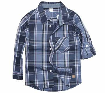 Black Grey Color Check Cotton Long Sleeve boys Shirt