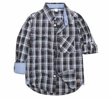 Coffee color cotton long Sleeve boyz shirt