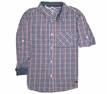 Multi color check Cotton long Sleeve boys shirt