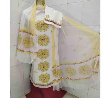 Unstitched Regular Block Design Cotton 3Pcs-Copy-White