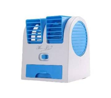 USB Mini Double Fan Air Cooler–Blue And White