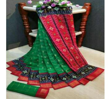 Indian Cotton Ikkat Print Saree