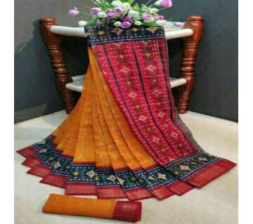 Indian Cotton Ikkat Print Saree- Orange with Red Par