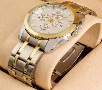 Golden formal wrist watch for men