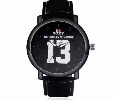 13 Digital  Leather Band Unisex Quartz Analog Wristwatch