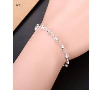 Silver Plated Crystal Chain Bangle Ball Charm Bracelet/Anklet