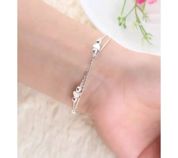 Silver Plated Crystal Chain  Heart & Ball Charm Anklet