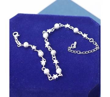 Silver Plated Crystal Chain Star Ball Charm Bracelet