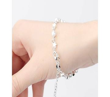 Silver Plated Crystal Chain  Star Ball Charm Anklet