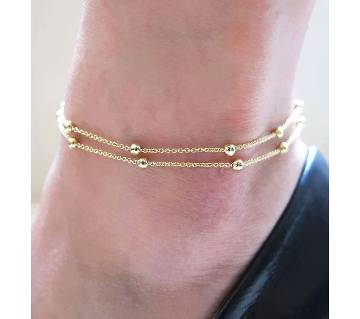 Gold color Ball Double layer Anklet