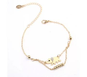 Gold Color Crystal Rhinestone Double Chain Elephant  Anklet for Women