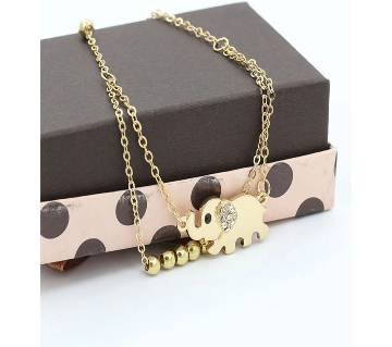 Gold Color Crystal Rhinestone Double Chain Elephant  Bracelet for Women