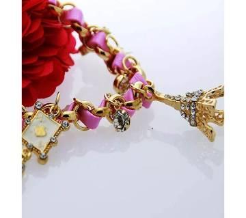 Eiffel Tower Stars Flowers Hearts Poker Card Thin Crystal Leather Bracelet