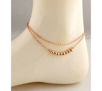 Serial Balls Rose Gold Color Double Layer Anklet