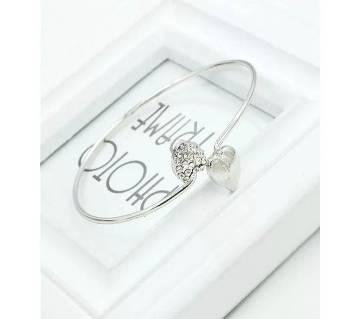 Crystal Love Heart Women Silver Plated Bangle Bracelet