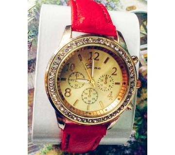 Red Belt Golden watch