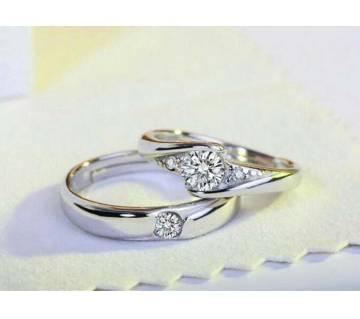 Stone setting couple finger ring-2 pcs