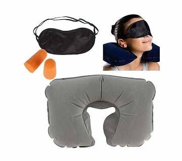 3 In 1, Travel Selection - Neck Pillow, Earplug, Eye Cover
