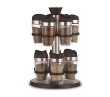 Rotating Spice Rack Set Of 12 Control Bottle Multipurpose Glass Jars