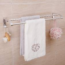 Magic Flexible Sticker Double Towel Rack - Silver