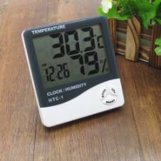 HTC-1 Indoor LCD Digital Temperature Humidity Meter Thermometer With Alarm Clock