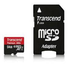 Transcend Class 10 MicroSDXC Memory Card with Adapter - 64GB