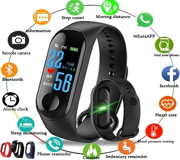 M3 Fitness Bracelet OLED Color Touch Screen Smart Wristband